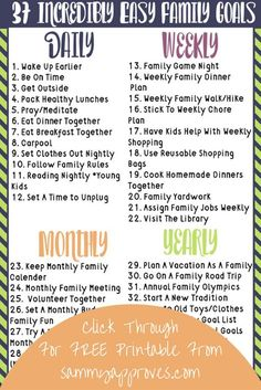 This list makes family goal setting so easy. You really can set a family goal any time of the year. Such a great way to bond and teach your children that they can achieve their goals easier through teamwork. Use this to set a New Years resolution with your kids or set long and short term goals!