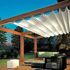 There are lots of pergola designs for you to choose from. First of all you have to decide where you are going to have your pergola and how much shade you want. Pergola Attached To House, Pergola With Roof, Covered Pergola, Patio Roof, Backyard Patio, Corner Pergola, Decks With Roofs, Awning Patio, Black Pergola