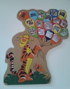 Óvodai tabló! Birthday Charts, Dinosaur Stuffed Animal, Preschool, Happy Birthday, Classroom, Scrapbook, Toys, Crafts, Animals