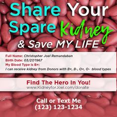 Save Me, Save My Life, O Blood Type, Kidney Donor, Text Me, Medium, Names, Healthy, Campaign