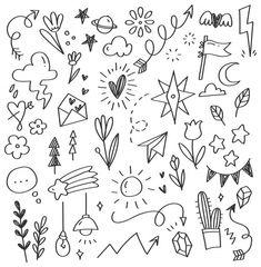 Set of arrow doodle Vector Hand Doodles, Easy Doodles Drawings, Doodle Art Drawing, Simple Doodles, How To Doodles, Free Doodles, Bullet Journal Writing, Bullet Journal Ideas Pages, Bullet Journal Inspiration