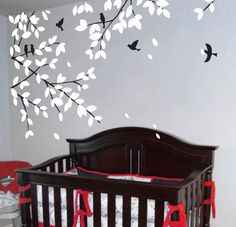 wall decals  tree decals baby nursery kids room decor  white nature  wall decor wall art-Tree branch with birds. $52.00, via Etsy.