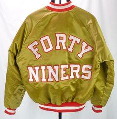 Vintage 80s San Francisco 49ers Gold Satin Chalk Line Jacket Mens L USA Starter #ChalkLine #SanFrancisco49ers