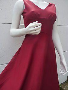 SUPERBE Robe longue empire Maxi dress T 38 vintage 70 VTG SEVENTIES bordeaux TBE