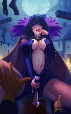 Anime picture 750x1200 with re:zero kara hajimeru isekai seikatsu elsa granhilte ousang long hair tall image looking at viewer light erotic black hair breasts purple eyes night girl navel weapon sword detached sleeves blood moon tongue cape