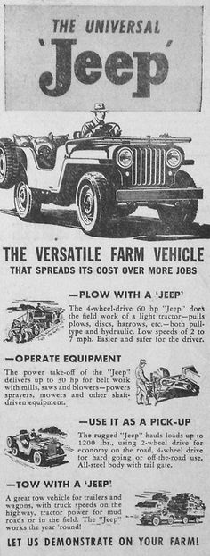 fromourarchives:  March 31, 1947 - Jeep advertisement in the Wausau Daily Record-Herald.