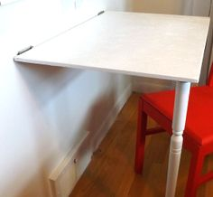 Space Saving Desk could very easily be in the laundry room for extra folding space when needed. Secret Storage, Diy Storage, Hidden Storage, Storage Ideas, Small Space Living, Tiny Living, Hidden Door Bookcase, Hidden Doors, Space Saving Desk