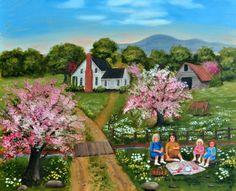 Folk Art Print, Country Scene, Tea Party, Pink Trees, Creek, Dirt Road, Wood Bridge, Mountain, Barn, Stream, Farm House, Arie R Taylor by jagartist on Etsy