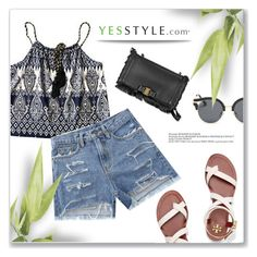 """YESSTYLE.com"" by monmondefou ❤ liked on Polyvore featuring Salvatore Ferragamo, Tory Burch, AORON and yesstyle"