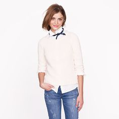 Twisted stitch open-neck sweater from JCrew. I like the tiny navy scarf tied around the neck!