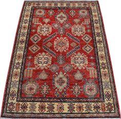 "Red Kazak Persian Rug 4' 1"" x 5' 10"" (ft) http://www.alrug.com/9724"
