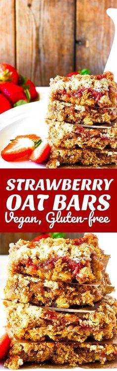 Strawberry Oat Bars (Gluten-Free, Vegan) #vegan #glutenfreerecipes #sugarfree #sugarfreechallenge