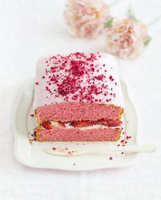 For a quick and easy cake recipe you cant look past this Strawberry Slab with rosewater cream and pink glace icing.