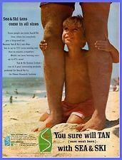 1964 Sea & Ski Suntan lotion Father & Son Vintage Ad