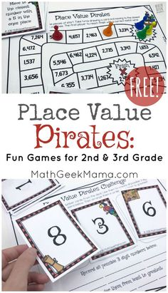 This fun, pirate themed place value game collection is a great way to deepen kids' understanding of place value and also challenge them to think critically about large numbers. It includes 2 different board games, plus a more open ended place value challe Easy Math Games, Printable Math Games, Math Board Games, Math Boards, Free Printable, Free Math Games, Ds Games, Printables, Place Value Math Games