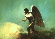 Odilon Redon (French: 1840–1916), [Post-impressionism, Symbolism] The Winged Man (The Fallen Angel), 1880.