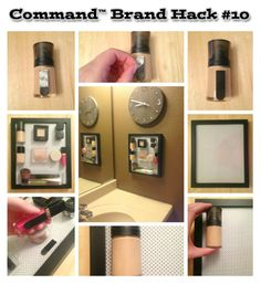Arrange all your must-have makeup at your finger tips! Mount with Command™ Picture Hanging Strips.