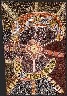 Freddy West Tjakamarra  (Pintupi, c.1940-95)  Men's ceremony (Wati Kutjarra) 1972  synthetic polymer paint on  composition board  45.5 x 31.5 cm