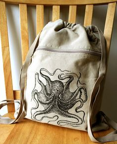 Octopus Canvas Backpack Laptop Bag by catbirdcreatures on Etsy