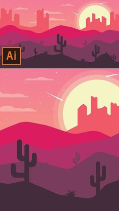 How to Draw Desert Landscape Flat Design In Illustrator Tutorial #howto #drawing #vectorgraphics #illustration #illustratortutorials #digitalart #besttutorials