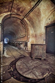 """German photographer Ben Schreck, currently based in Nantes and passionate by """"urban decay"""", photographed abandoned bunkers along the Maginot Line in a beautiful URBEX Old Buildings, Abandoned Buildings, Abandoned Places, Underground Bunker, Line Photo, Fortification, Haunted Places, Abandoned Mansions, Architecture"""