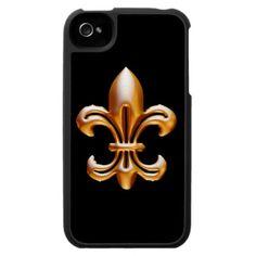 Bold Gold Fleur de Lis iPhone 4 Covers