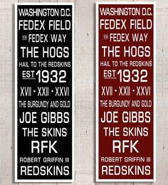 Washington Redskins: Football Subway Art Sports Decor Sports by RoyalCollarDesigns. CHOOSE YOUR OWN TEAM!