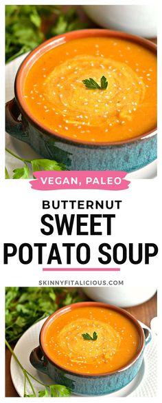 Vegan Paleo Butternut Sweet Potato Soup loaded with vitamins and low calorie! Vegan Paleo Butternut Sweet Potato Soup loaded with vitamins and low calorie! Paleo Soup, Vegan Soups, Healthy Soup Recipes, Paleo Vegan, Low Calorie Vegan, No Calorie Foods, Low Calorie Recipes, Low Calorie Soups, Low Carb
