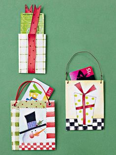 Glad Tidings    Give gift cards extra value by packaging them in these cute paper pockets. Textural watercolor paper, hand-painted designs, and clever embellishments cash in on Christmas style.   Follow the link to get an instruction guide.