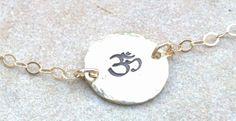 Yoga bracelet yoga anklet gold braceletohm yoga by natashaaloha, $42.00
