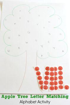 Apple theme alphabet activity for preschoolers.