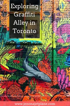 Toronto's Graffiti Alley is a great place to begin your urban walls tour of the city. You can't leave Canada without visiting Graffiti Alley. Find out how to get to Graffiti Alley and see amazing art from the area. Must-see street art in Toronto. Best Instagram spot in Toronto. Save to your travel board for inspiration.