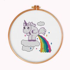Unicorn Pooping Rainbow cross stitch pattern modern by ThuHaDesign