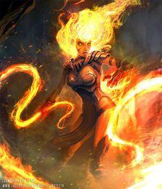 'Fire elementalist' (secret craft) or 'Flaem' (Principality of Berghdoven)[Sorceress by TentaclesandTeeth on deviantART] Fantasy Women, Fantasy Girl, Dark Fantasy, Character Concept, Character Art, Concept Art, Dnd Characters, Fantasy Characters, Dungeons And Dragons