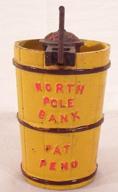 Vintage North Pole Ice Cream Freezer Cast Iron Bank