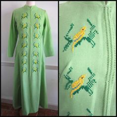 Embroidered Caftan / Vintage Caftan / Bird Embroidery Caftan / fits M / Lime Green Caftan / Modest Dress / Lolittes Caftan by OGOvintage on Etsy