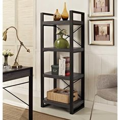 62 4 Shelf Industrial Bookcase Charcoal - Saracina Home, Gray 4 Shelf Bookcase, Bookshelf Storage, Open Bookcase, Etagere Bookcase, Bedroom Storage, Shelves, Storage Rack, Bookcases, Accent Furniture