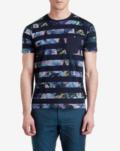 Striped print T-Shirt - Navy | Tops & T-shirts | Ted Baker
