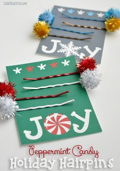 Peppermint Candy Holiday Hairpins Craft and Gift Idea