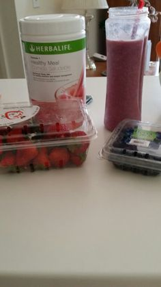 Herbalife Wild berry smoothy. 1 cup ice, 1/4 cup blueberries,  1/2 cup cut strawberries,  2 scoops herbalife wild berry formula 1 shake mix, 8 Oz water.  Mix in blender.  And enjoy!