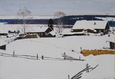 Безумов Александр Николаевич (Россия, 1926 - 1982) «Деревня зимой» 1968