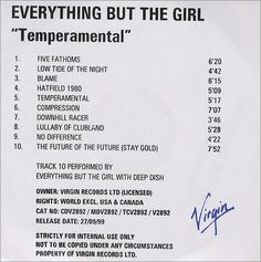 For Sale - Everything But The Girl Temperamental UK Promo  CD-R acetate - See this and 250,000 other rare & vintage vinyl records, singles, LPs & CDs at http://991.com