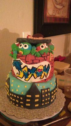 ninja turtle baby shower cake more baby shower cakes vickie s cakes