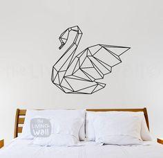 Geometrische Swan Wand Aufkleber Home Decor von LivingWall auf Etsy