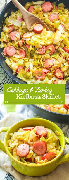 Green cabbage pan-fried in olive oil with low-fat turkey kielbasa. Giveaway: enter by 3/17/17 to win a $700 amazon gift card!