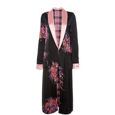Etro Reversible Silk Robe Coat ($3,030) ❤ liked on Polyvore featuring outerwear, coats, multi colored coat, pattern coat, etro, floral print coat and colorful coat