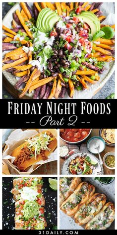 Friday Night Foods that are Classic, Easy and Amazing - 31 Daily - - It's Friday and time for Friday foods. Which means fun, delicious, flavorful foods that make Fridays a day to look forward to all week. Girls Night In Food, Game Night Food, Movie Night Snacks, Girl Night, Movie Nights, Night Dinner Recipes, Date Night Dinners, Friday Night Dinners, Girls Night Dinners