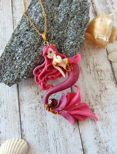 Mermaid Pendant, Mermaid Jewelry, Mermaid Necklace, Polymer Clay Crafts, Polymer Clay Jewelry, Polymer Clay Mermaid, Clay Crafts For Kids, Clay Monsters, Mermaid Ornament