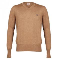 Vivienne Westwood Man Gold Label Vinvent V-Neck Sweater - Tan | Sold At GarmentQuarter