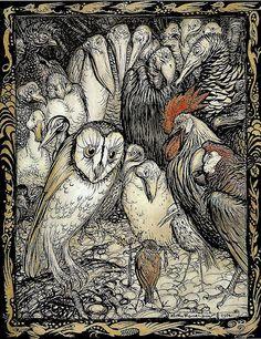 the owl and the birds, Aesop's fables. Arthur Rackham